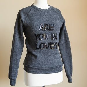 """Womens Bow & Drape """"Are You in Love"""" Sweater"""